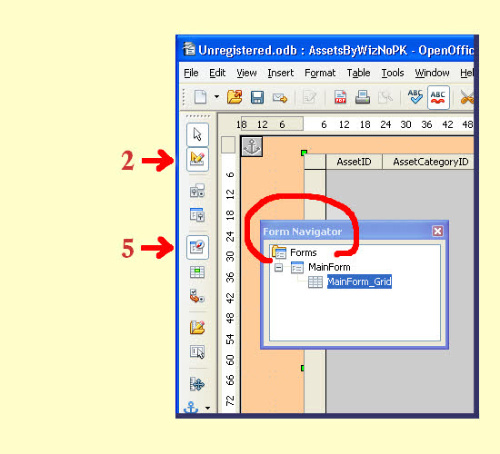 form navigator tool and the design mode on off button open office